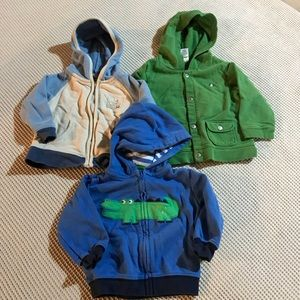Baby boy green and blue 9 month 3 pc hoodie bundle
